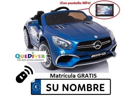Coche eléctrico infantil Mercedes SL65 con MP4 12V con control remoto, 1 plaza.