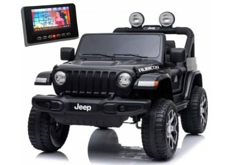 Coche infantil JEEP Wrangler Rubicon 12V Premium con pantalla MP4 y piel, 2 plazas pequeñas
